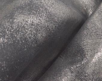 """Back in Black """"Rock-N-Roll"""" Leather Cow Hide 4"""" x 6"""" Pre-Cut 2-3 oz flat grain DE-54425(Sec. 8,Shelf 6,D,Box 6)"""