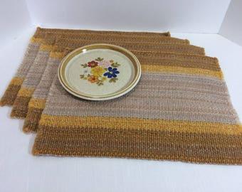 Place mats Vintage 1960s Harvest Gold Beige Stripe Woven Fringed Set of 4