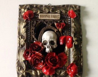 Skull and roses gothic artistic panel