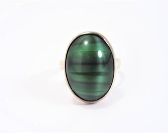 Vintage Striped Green Stone Sterling Ring Hallmarked Size 6