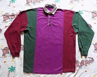 Vintage 90's Ralph Lauren Polo color block Rugby Shirt, size XL USA made