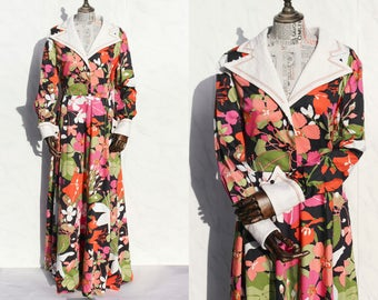 Hardy Amies Designer Vintage 70s Maxi Dress • Savile Row • Floral Evening Dress • Psychedelic Dress with Sleeves • Formal Cocktail Dress. M