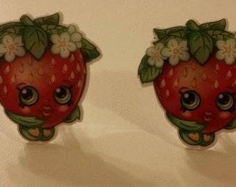 Strawberry Kiss clip on earrings/girl earrings/resin clip on earring/kid earring/Shopkin earrings