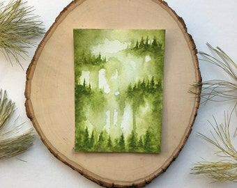 Gold/Olive Forest - Original Watercolor Painting