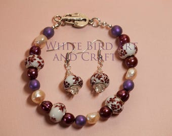 Beautiful Bracelet and Earring Set--Porcelain beads with Freshwater Pearls