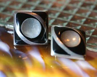 Mid Century Mexican Silver and Onyx, Vintage Art Deco Earrings