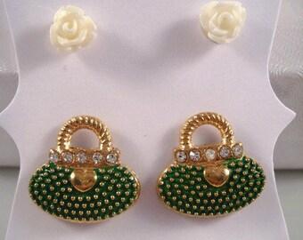 Green Purse Earrings Novelty Jewelry