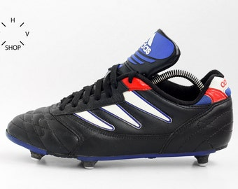 Vintage ADIDAS 1995 soccer boots / Adidas soccer football cleats / Leather Mens Kids metal cleats shoes / Made in Indonesia 90s