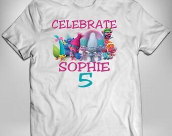 Troll Iron On, Poppy Iron On Transfer, Troll Birthday Shirt, Trolls Birthday Shirt, Custom Birthday Shirt, Heat Press, Heat Transfer
