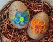 Spring Easter Eggs, Natural Jute Eggs, Flowered Eggs, Easter Basket Fillers, Spring Decor, Easter Decor, Bowl Fillers, Easter Window Props