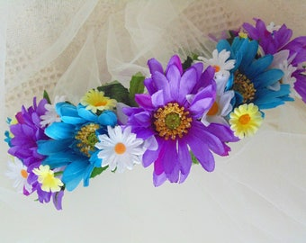 Purple and Blue Daisy Flower Crown, Wedding Tiara, Renaissance Fair Crown, Bridal, Baby Shower Headdress, Boho Crown
