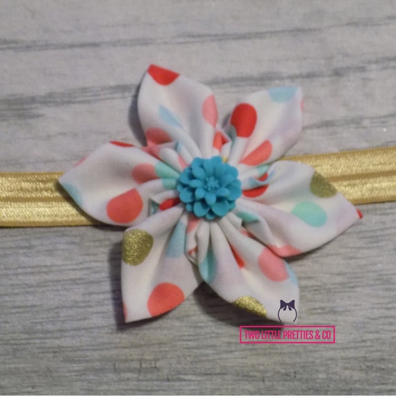 Coral mint and gold polka dot Large Fabric Flower Headband | Baby Girl | Hand sewn