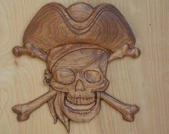 Pirate Hat Skull and Bones ~ Pirate Decor - WOOD WALL ART ~ 3D Wooden Pirate Art ~ Skull and Crossbones ~ Pirate Hat ~ Pirate Wood Carving
