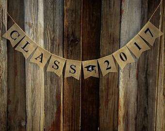 Graduation Banner, CLASS OF Burlap Banner, Graduation Party, Photo Prop, Congratulations Graduate, Graduation Decoration