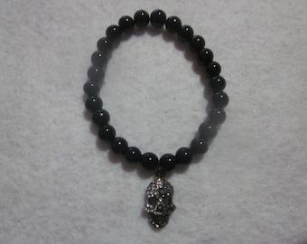 Rhinestone Skull Black Bracelet