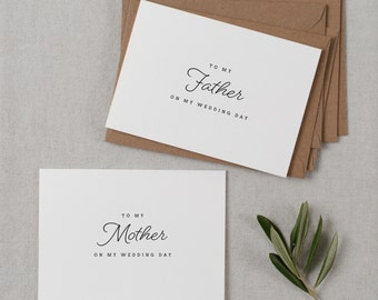 Wedding Card To My Mother + Father Wedding Day, To My Parents Wedding Card, To My Mom, To My Dad, Parents Wedding Thank You Card 2 Cards, K1