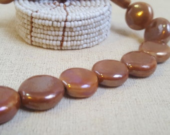 12 Light Brown Glass Disc Beads-Round Flat Beads-Ceramic Look- 15 mm x 8 mm-Copper Color