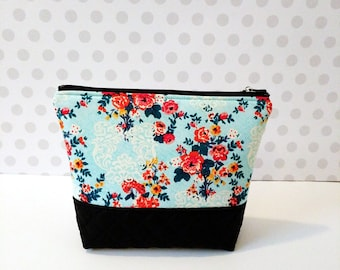 Floral and Damask Aqua Large Makeup Pouch