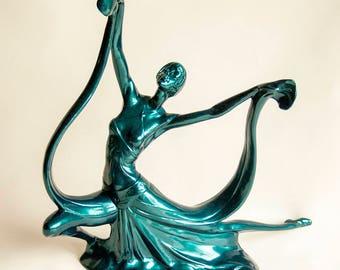 Vintage Retro Upcycled Art Deco Metallic Green/Blue Porcelain 1920s/30s Dancer Figurine