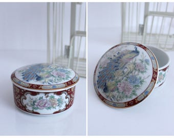 Vintage Red White Gold Blue Pink China Peonies and Peacock Decorative Trinket Box / Jewellery Box with Lid / FREE UK SHIPPING