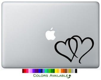 Interlocking Hearts Laptop Decal