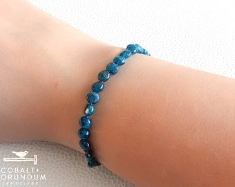 Blue Apatite bracelet with sterling silver lock | Gemstone bracelet 6mm