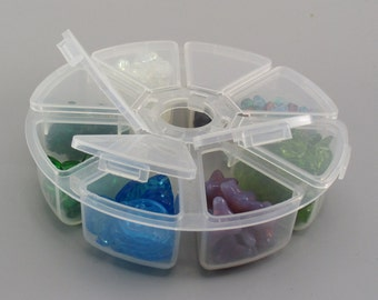 Czech Glass Beads with Sectioned Plastic 4 inch Storage Container, Destash
