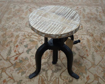 Solid Wood And Iron Adjustable Stool