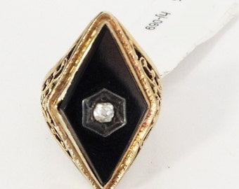 Black Onyx & Diamond 14 KT Gold Ring Size 4 hj-069