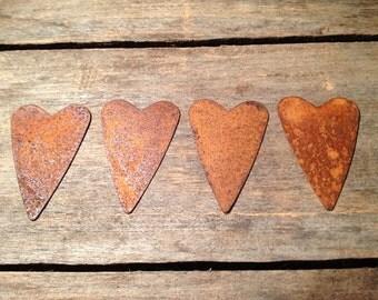 "2-1/8"" Rusty Tin Heart. Package of four (4). Tin Hearts. Rusty Tin. Metal Hearts. Rusty Metal Heart. Rusty Heart. Rusty Tin Embellishments."