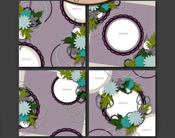 Digital Scrapbooking, Layout Template Set, PAGE FILE included: Circle Me