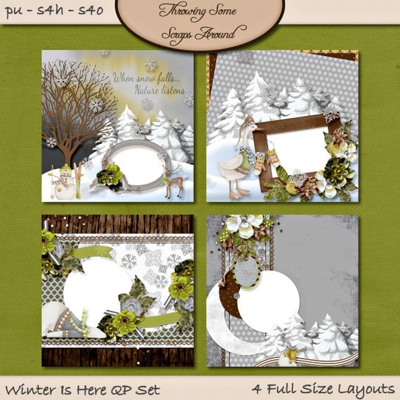 Digital Scrapbooking, Quick Page Set: Winter Is Here