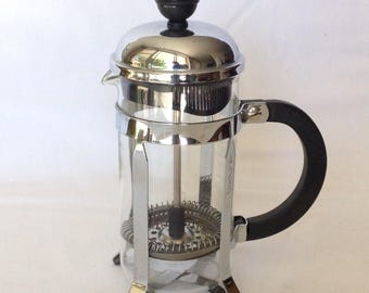 Vintage chambord style french press coffeemaker espresso coffee java press with Bodum detailing Scandi Design Made in Denmark glass coffee