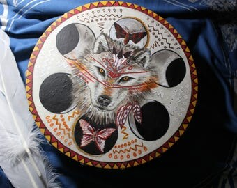 Shaman Druid Pagan Drum Wolf Spirit Moon Witchcraft Native American One of a Kind OOAK