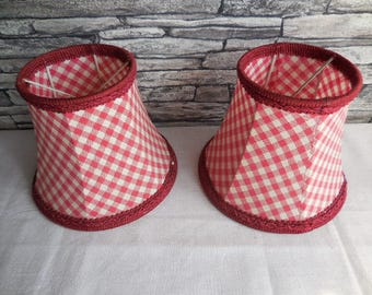 A pair of vintage French red and white check lampshades #2