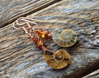 Ammonite Fossil and Baltic Amber Chips Beads Handmade Earrings,Fossil Earrings,Fossil Jewellery,Amonite Jewellery