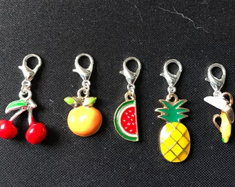 Progress Keepers, Removable Markers, Snag Free Stitch Markers Set, Zipper Pull Keychain, Lobster Clasp Charm, Summer Fruit Food Kawaii