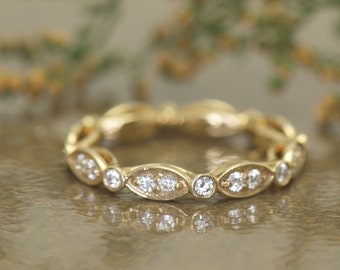 Marquise and Dot Diamond Wedding Band in 14k Yellow Gold, 3.1-2.8mm Wide, 0.23ctw E-F Color VS Clarity Diamonds, 7/8 Eternity, Natalie G