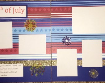 12x12 premade scrapbook pages ~ 4th of July