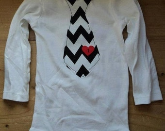 Valentine's Day Chevron Tie With Heart Button Shirt or Baby Bodysuit