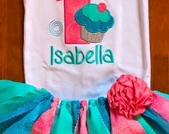Coral, Aqua, and Turquoise Birthday Cupcake Tutu Outfit