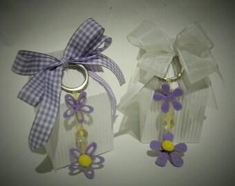 Wedding favor cardboard milk carton + felt Keychain-handmade-customizable