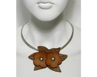 Leather Flowers Pendant and Pin in Yellow Orange