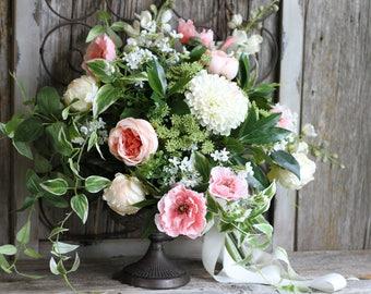 Lush & Loose Dahlia Peony Poppy Greenery Silk Wedding Bouquet