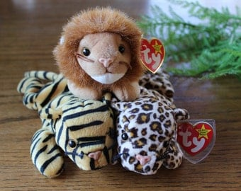 Those Darn Cats! Vintage Ty Beanie Baby Cats / The Big Cats / Retired Beanie Babies / Roary The Lion / Stripes the Tiger