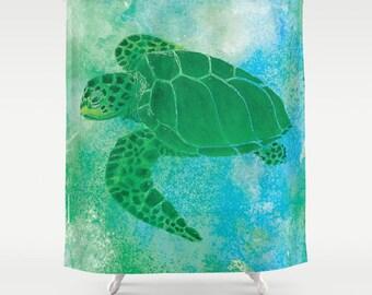 Sea Turtle Shower Curtain   Kempu0027s Ridley   Watercolor Art, Blue Green Sea  Turtle,