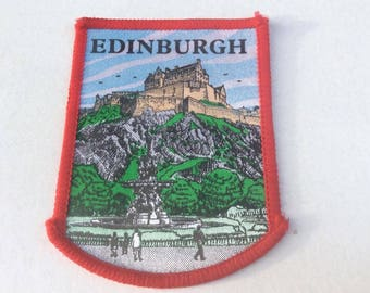 Vintage 1970s era Edinburgh Scotland Fabric Sew on Patch - Tourist Souvenir