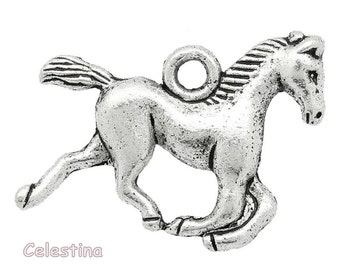10 x Tibetan Silver Horse Charms - Horse Pendants - Racing Stallion Beads - Galloping Horses Charms - Pony Charms 15mm TS211