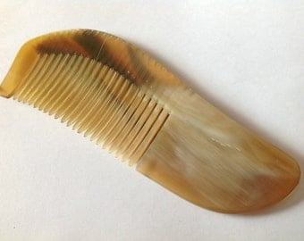 Organic Oxhorn Comb Fine Tooth X2F Beard Comb Hair Comb Unique Pattern By Beard Basics