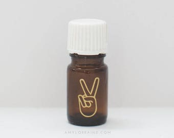 Essential Oil Bottle Gold Peace Sign Vinyl Decal | Stress Blend Inspired